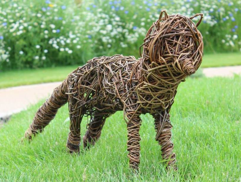 willow fox for sale. LIfe size willow fox. Woven with flanders and black maul willow. £150